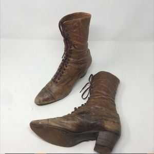 Antique Victorian Brown Women's Leather Lace Up